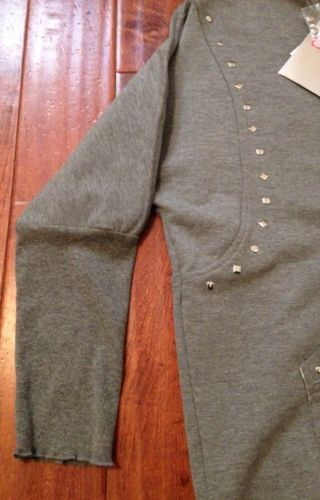 MISS GRANT SO TWEE Gray Studded Rhinestone Sweatshirt NEW Sz14 $100