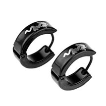 Men's Titanium Steel Dragon Pattern Earring (Black) - One Pair [Office Product]