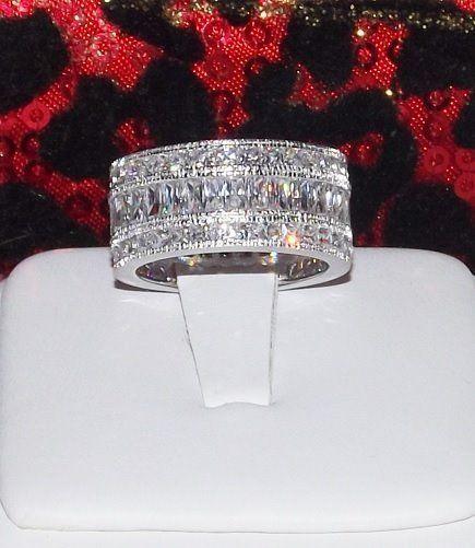 5C ENGAGEMENT WIDE ETERNITY RING WEDDING BAND DIAMOND simulated pr cir SIZE 8