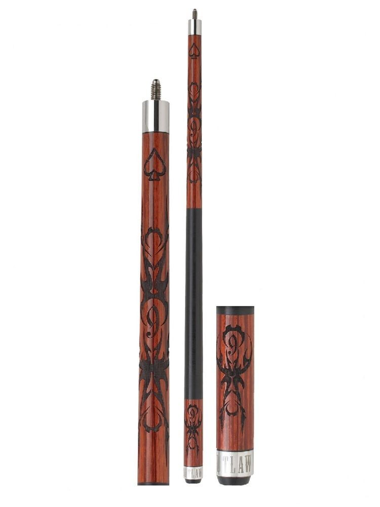 New Outlaw OL23 Pool Cue Stick - 9 Ball w/ Barbed Wire 18 - 21 oz & Case