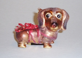 Ribbon Wrapped Red Dachshund Dog Christmas Holiday Glass Ornament - $15.50