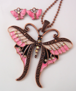 Butterfly Rhinestone Necklace Set Clip Earrings Bronze Enamel - $4.50