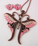 Butterfly Rhinestone Necklace Set Clip Earrings... - $4.50