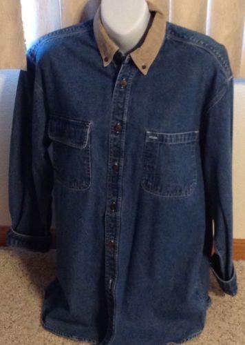 Denim Shirt American Blue Ladies Size Medium Cotton Blouse Long Sleeve Pockets