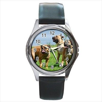 Boerboel Square Round & Square Leather Strap Watch - Dog Puppy