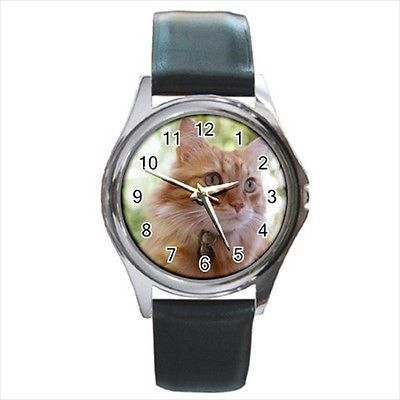 Cymric Square Round & Square Leather Strap Watch - Cat Kitten