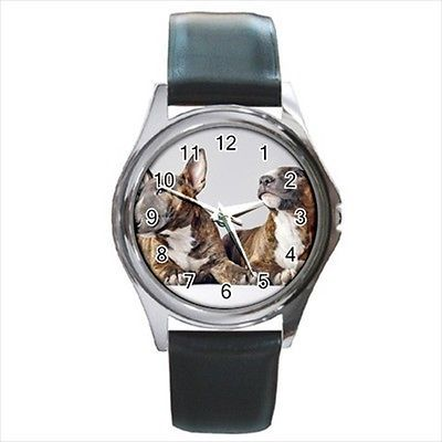 Bull Terrier Square Round & Square Leather Strap Watch - Dog Puppy