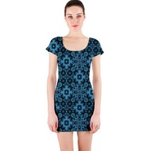 Cute Abstract Blues Tight Fitted Bodycon Dresses - Size & Sleeve Options - $29.09+