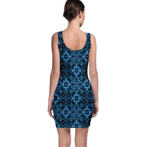 Cute Abstract Blues Tight Fitted Bodycon Dresses - Size & Sleeve Options