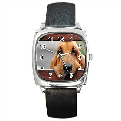 Bloodhound Square Round & Square Leather Strap Watch - Dog Puppy