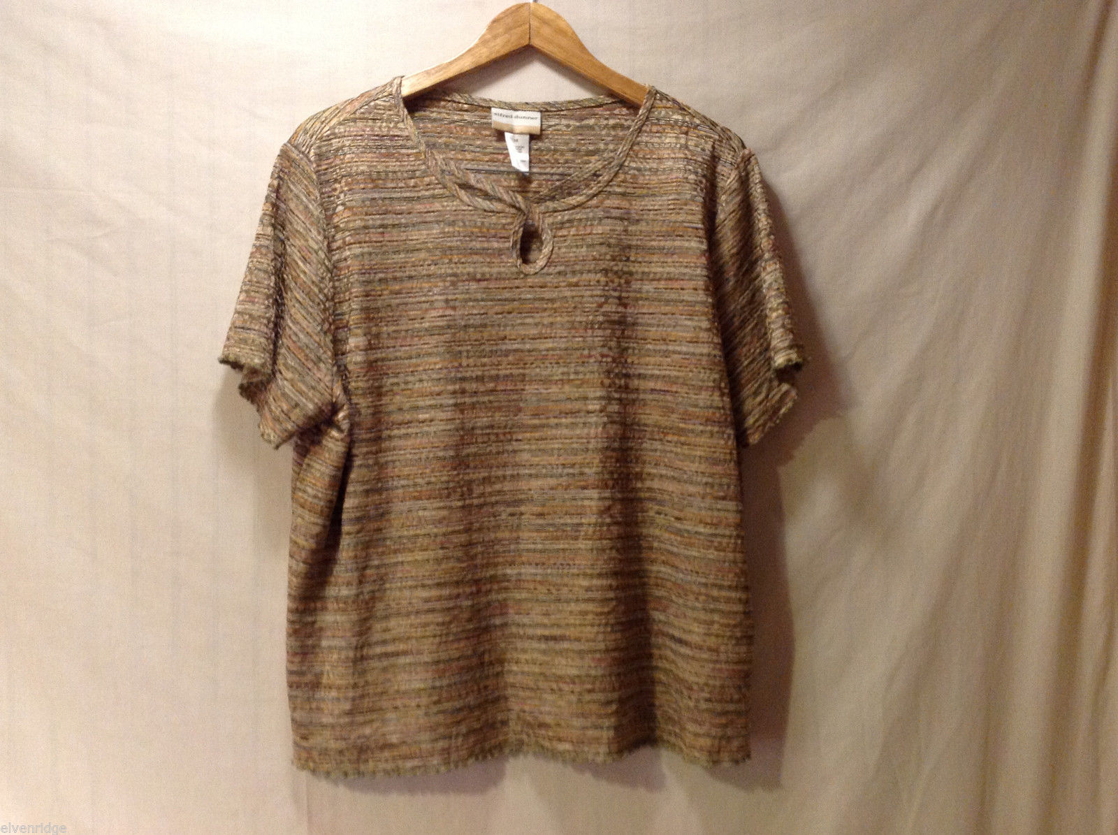 Alfred Dunner Women Plus 1X Shirt Top Blouse Keyhole Brown Stripes Multi-Color