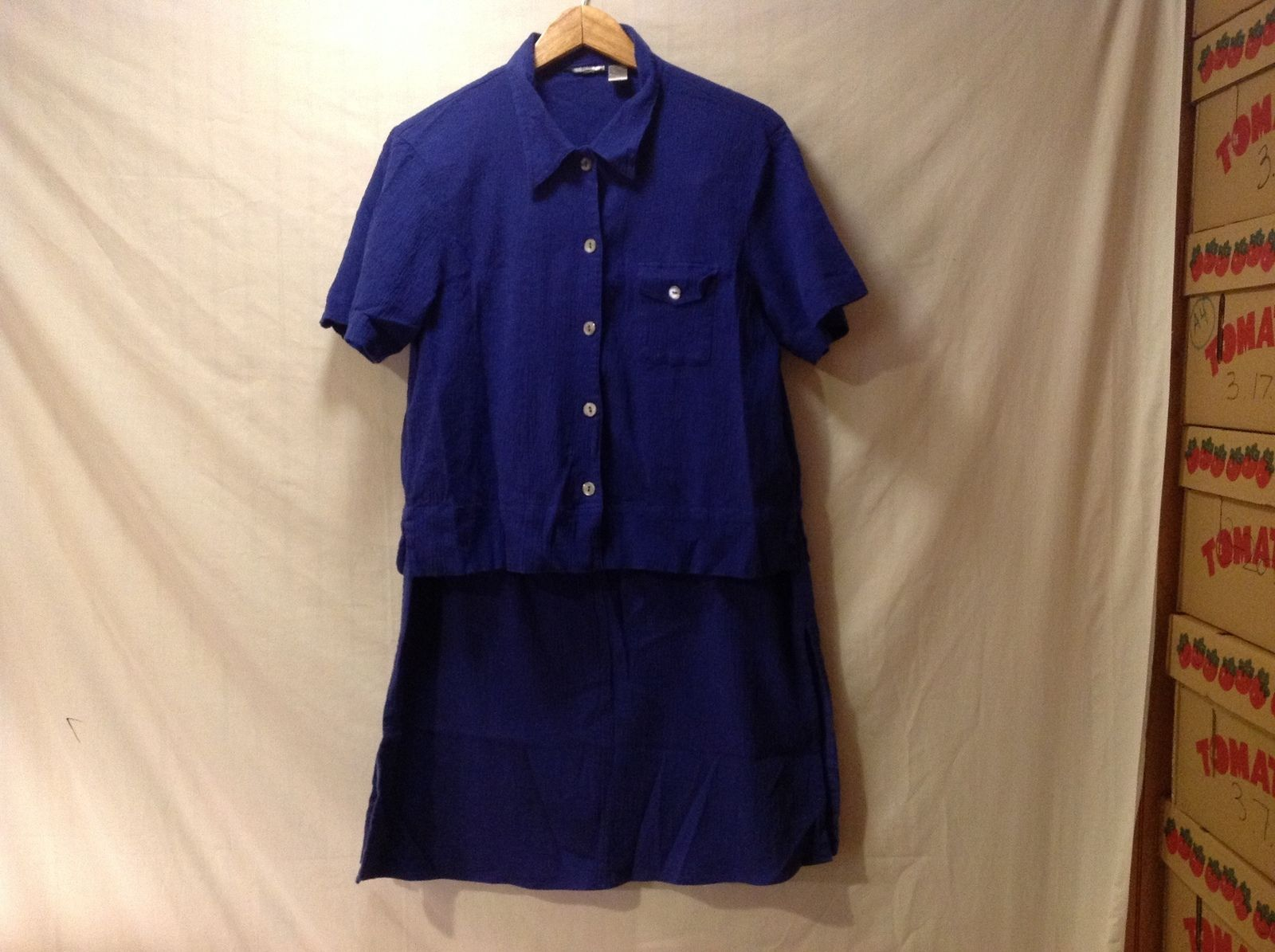Chico's Womens Two piece Royal Blue Skirt and Blouse Size 2