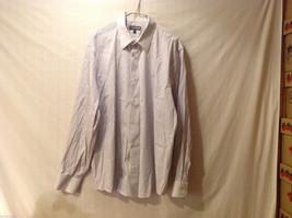 EXPRESS Men's Size XL Dress Shirt Purple Pinstripes on White Modern Fit Stretch