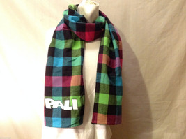 "Boxercraft ""PALI"" Print Scarf Multi-Colored Rainbow & Black Buffalo Plaid Check"