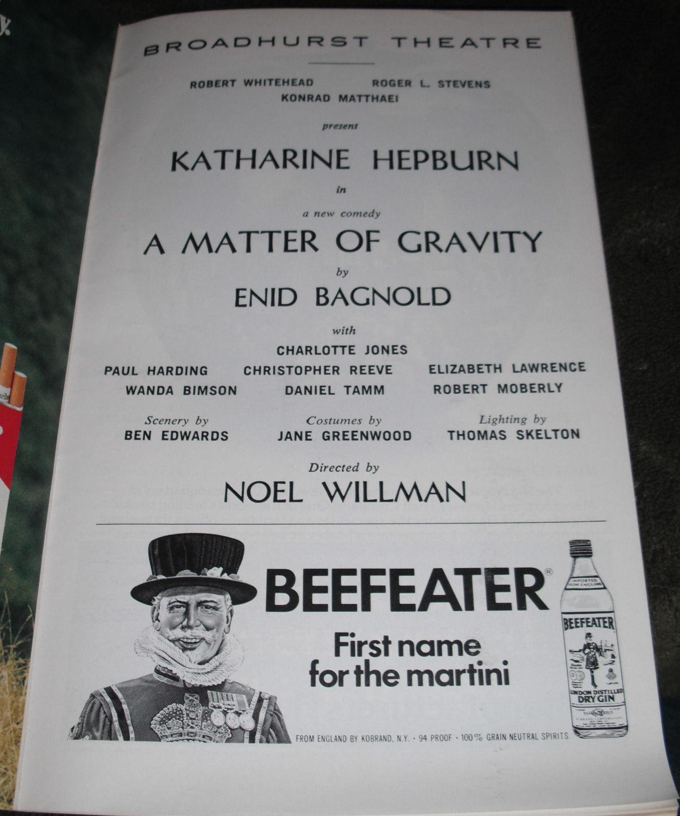 A MATTER OF GRAVITY PLAYBILL - KATHERINE HEPBURN