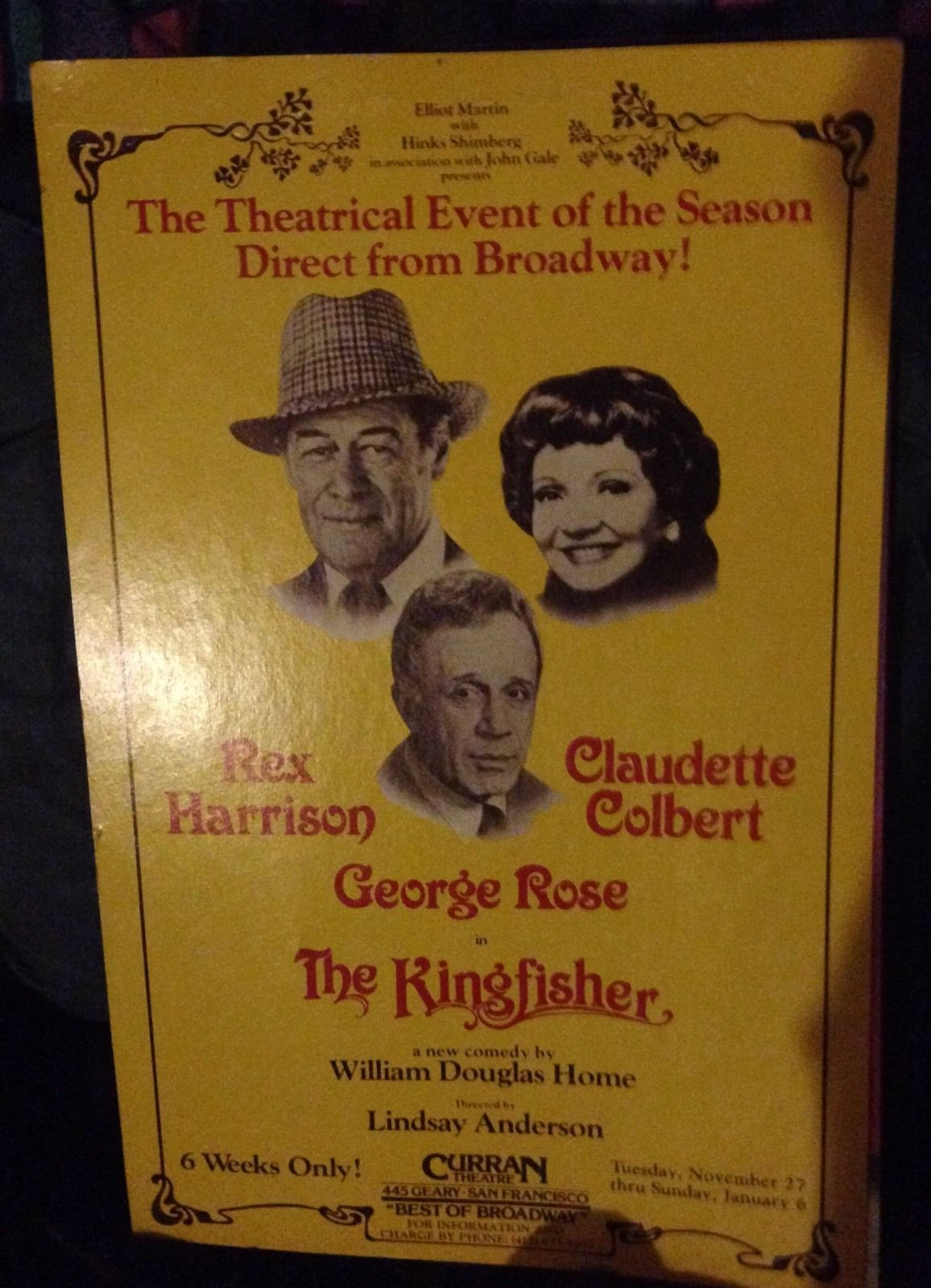 Rex Harrison in Kingfisher Poster - With Claudette Colbert and George Rose