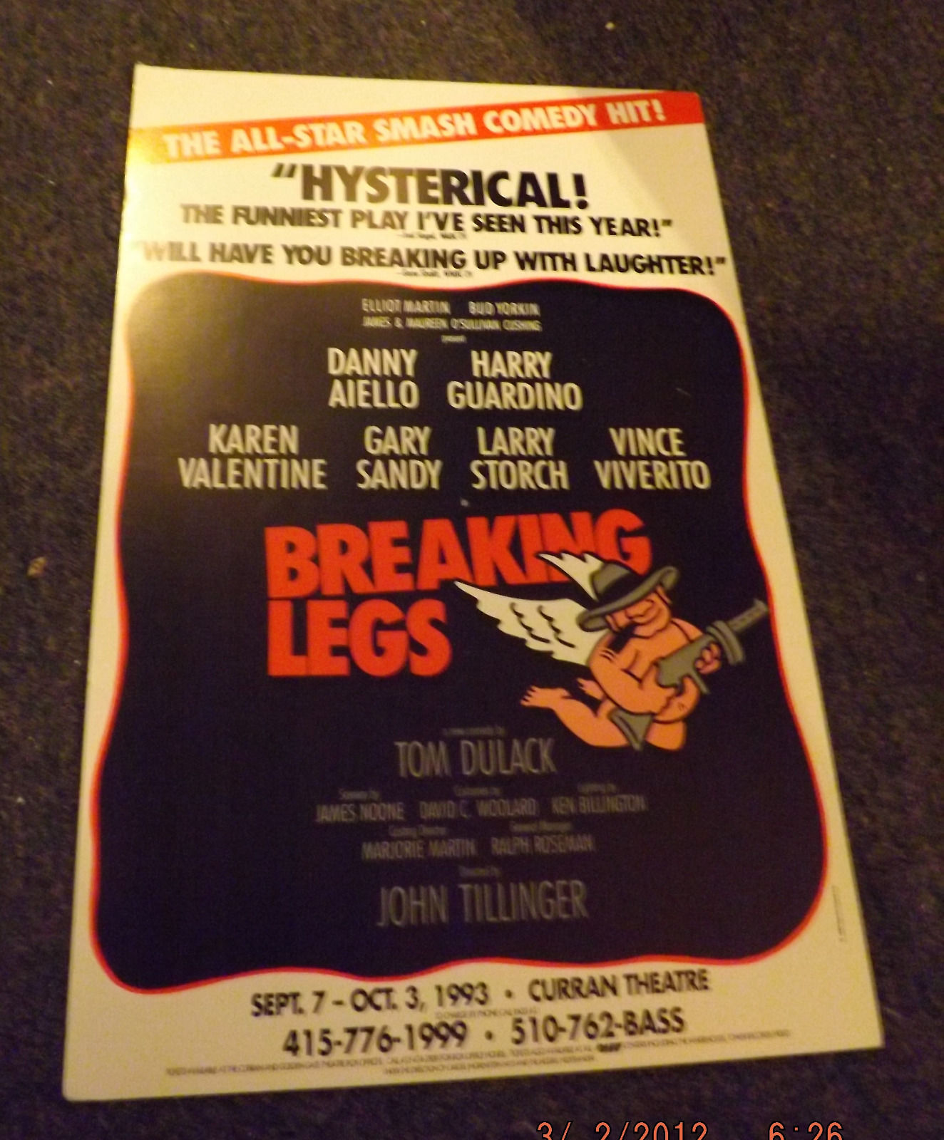 BREAKING LEGS POSTER - KAREN VALENTINE, HARRY GUARDINO & DANNY AIELLO