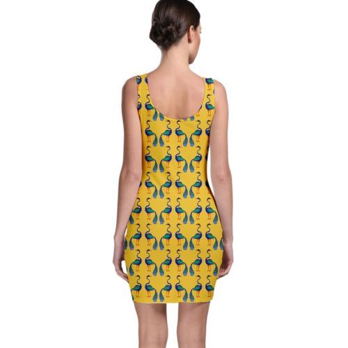 Cute Peacock Birds Tight Fitted Bodycon Dresses - Size & Sleeve Options