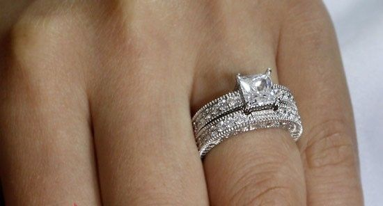 White Gold Sterling Silver  Diamond Engagement Ring Wedding Set