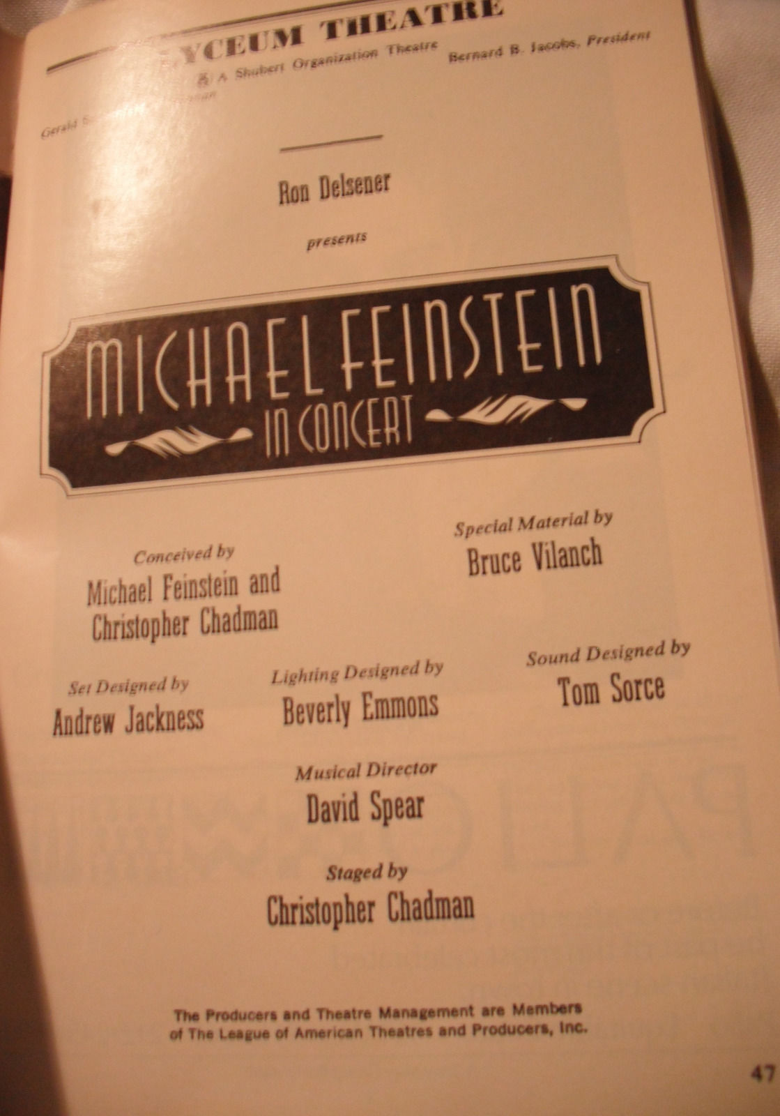 MICHAEL FEINSTEIN IN CONCERT PLAYBILL