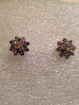 Vintage Filigree Tourmaline 92.5% Sterling Silver Flower Stud Earrings - $88.83