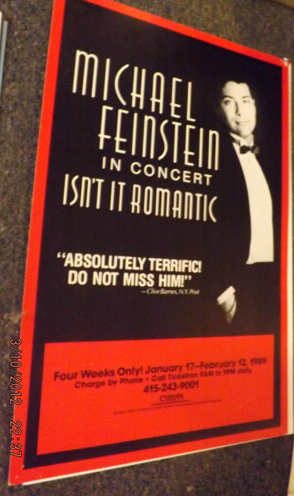 MICHAEL FEINSTEIN IN CONCERT POSTER - ISN'T IT ROMANIC - SF 1989