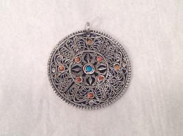 Nepalese Dorje Pendant Silver Filigree Turquoise & Coral Semi-Precious Stones #1