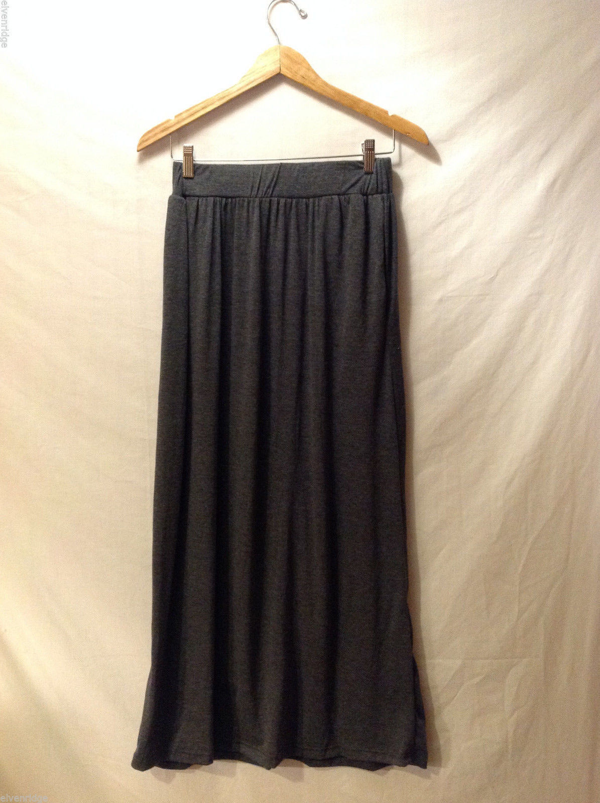 Kylea Women's Size S Skirt Gray Stretchy Knit Pull-On Maxi Length w/ Pockets