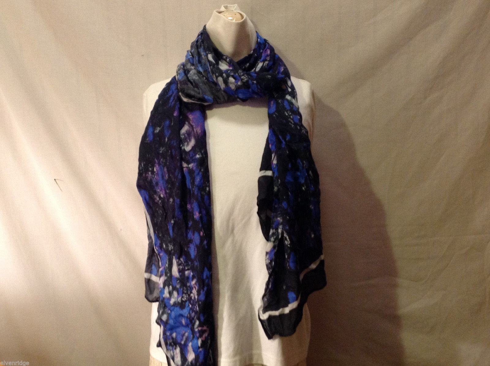 Lightweight Scarf Abstract Swirl Pattern in Navy Blue, Purple, Violet and White