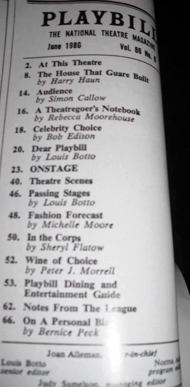 SONG AND DANCE PLAYBILL