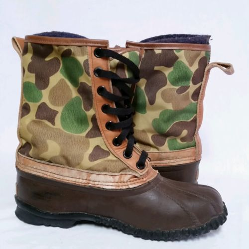 VTG Sorel Camouflage Insulated Duck Boots Camo Winter Snow Hunting Mens Size 7