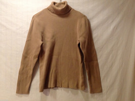 Style & Co. Women's Size L Ribbed Turtleneck Shirt Top Thin Knit Tan Camel Brown