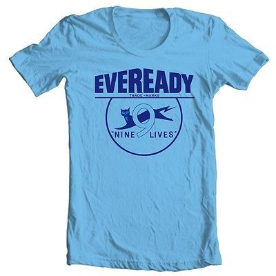 Eveready T shirt retro vintage brands 70's 80's 100% cotton blue graphic
