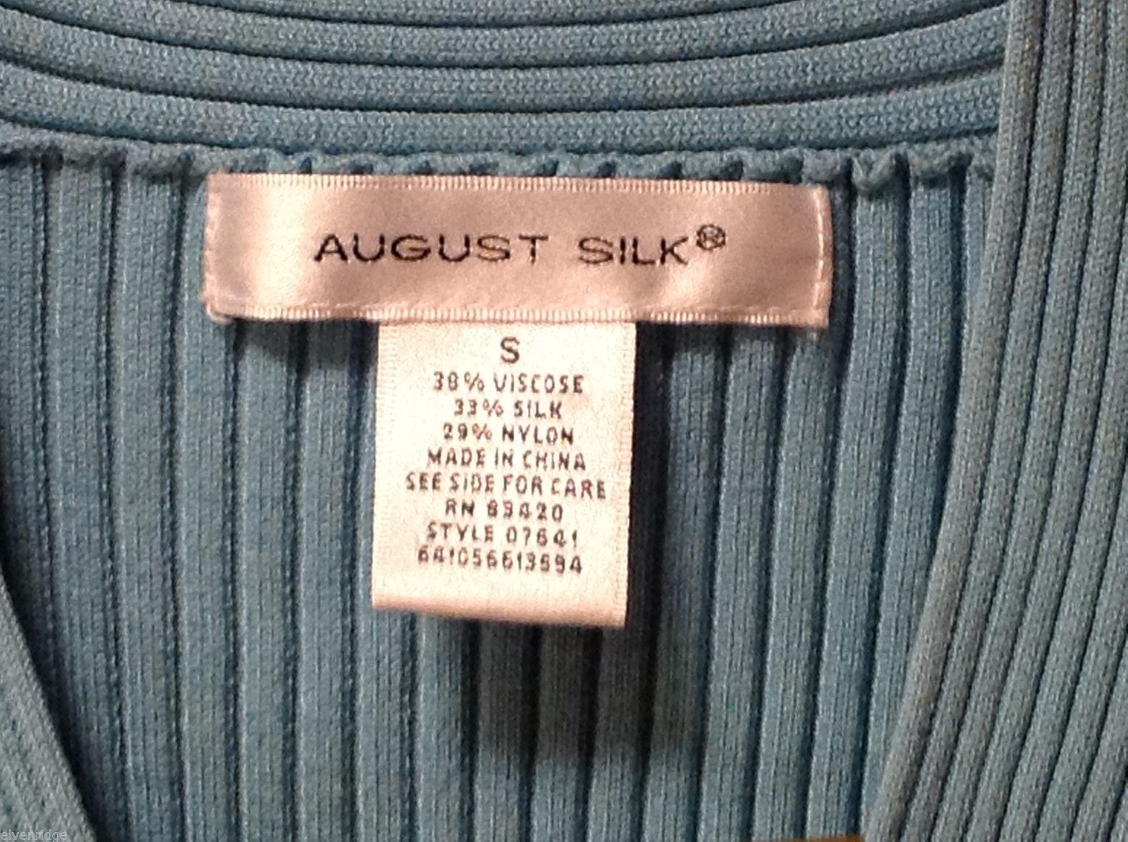 August Silk Women's Size S Shirt Top Ribbed Aqua Blue Short Sleeves V-Neck Wrap