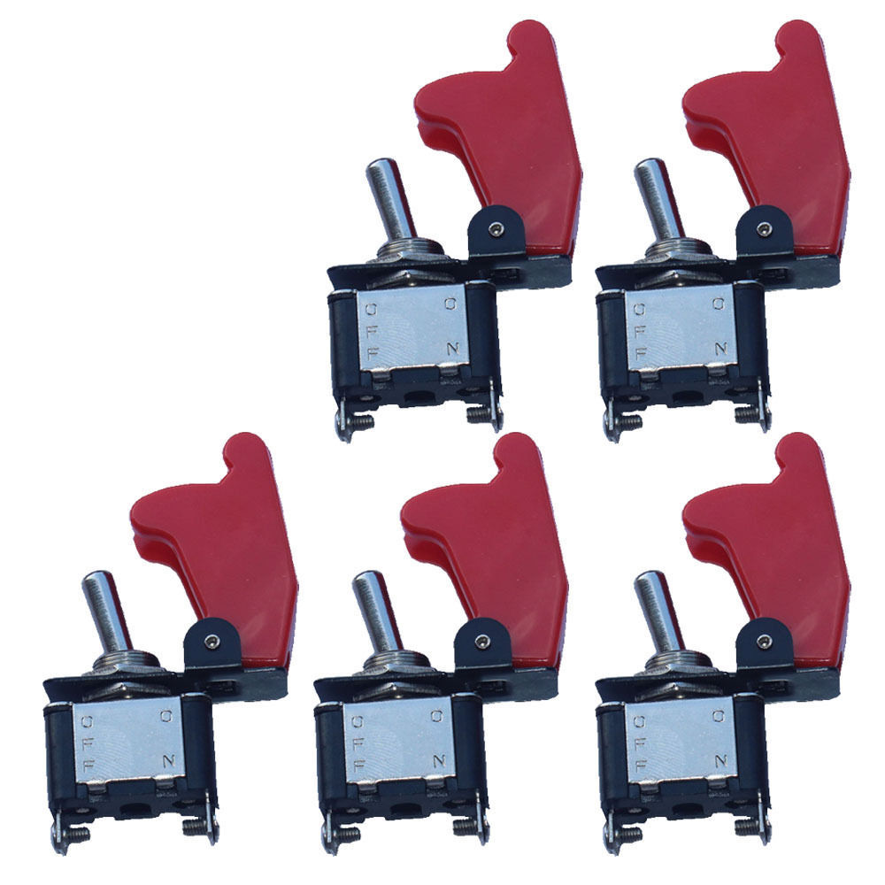 5Pcs Car Auto Boat 12V Red Cover Rocker Toggle Switch SPST ON/OFF 2Pin Control