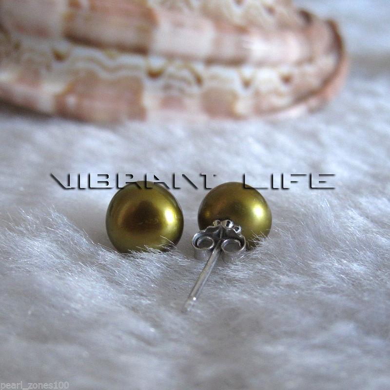 7.0-7.5mm Dark Golden-Olive Freshwater Pearl Earrings Stud Earrings AC