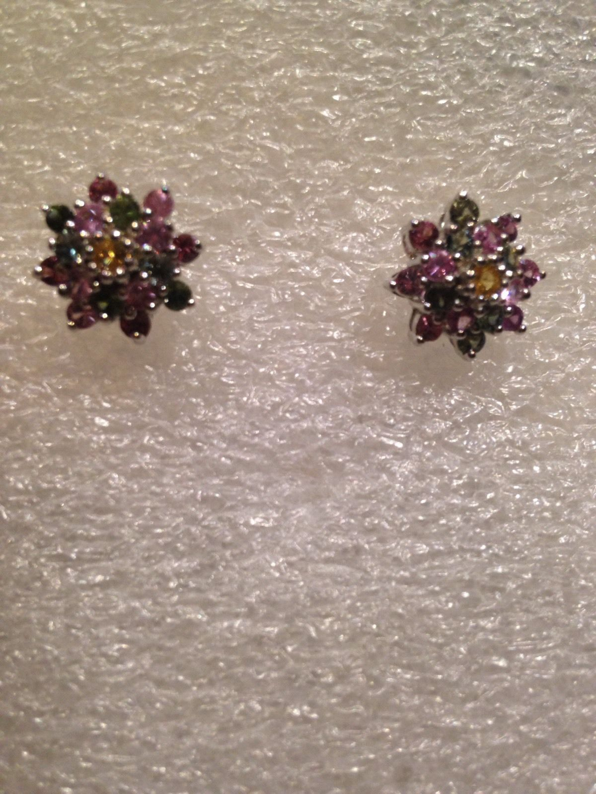 Vintage Filigree Tourmaline 92.5% Sterling Silver Flower Stud Earrings