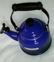 Le Creuset Whistling Tea Kettle 1.25 Quart Blue Tea Pot Never Used Cobal... - $69.99