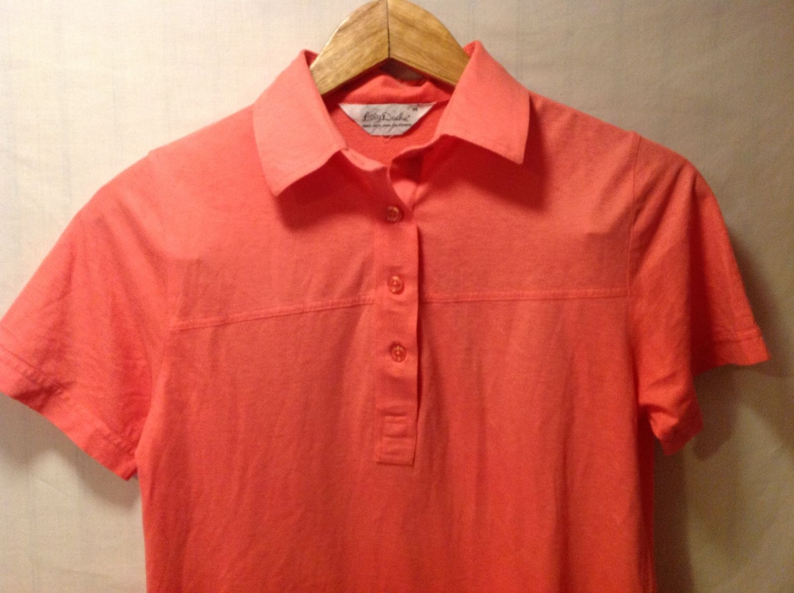 Lilly Dache Womens Coral Orange Polo Style Shirt Size Medium