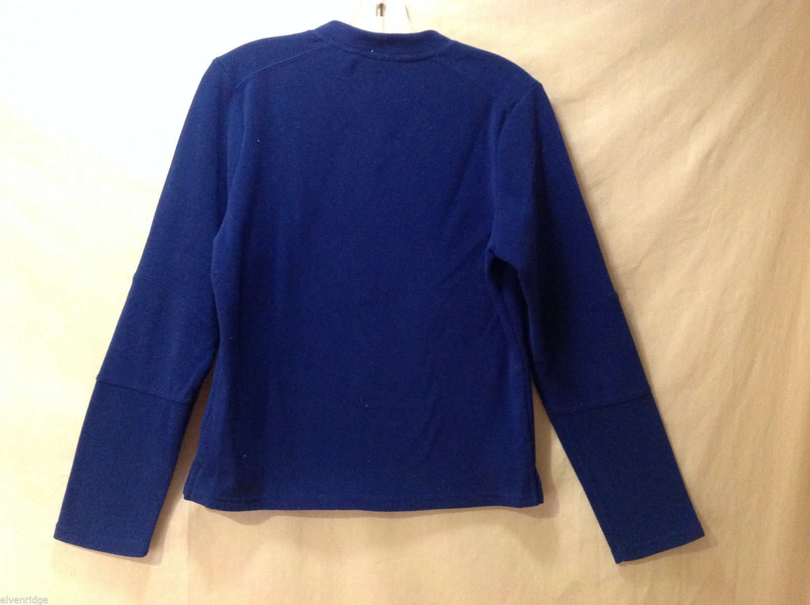 NY Jeans Women's Size S V-Neck Sweatshirt Vivid Royal Blue Fleece Long Sleeves