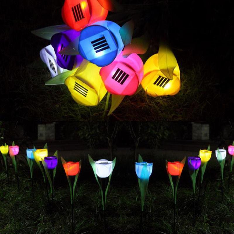 5X  Solar Powered Flower LED Light Outdoor Yard Garden Path Way Landscape Lamp