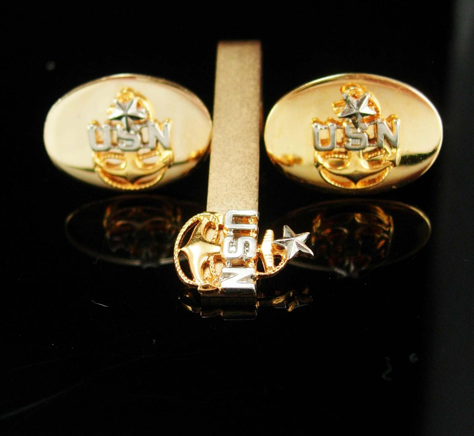 Navy Cuff links vintage gold naval officer Tie clip USN Cufflinks military insig