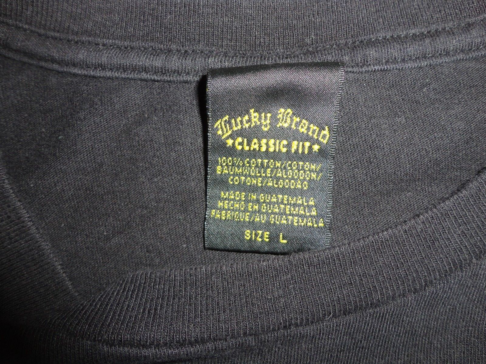 Black LUCKY BRAND Dungarees Los Angeles t shirt Adult  L VERY NICE Classic Fit