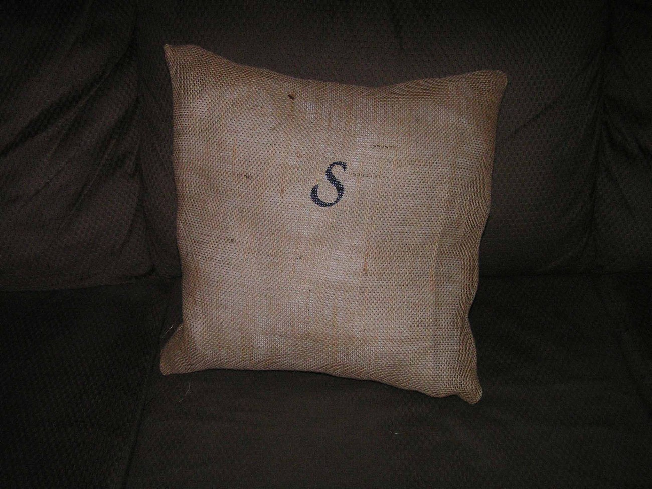 "burlap throw pillow size 18"" x 18"" poly fiber filler customized"