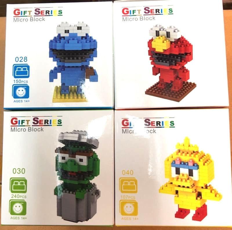 Sesame Street Figures Big Bird Muppets Elmo Toys New Building Blocks 4 Sets Lot