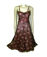 40s retro sundress brown nylon over pink with bows so cute XS - $34.50