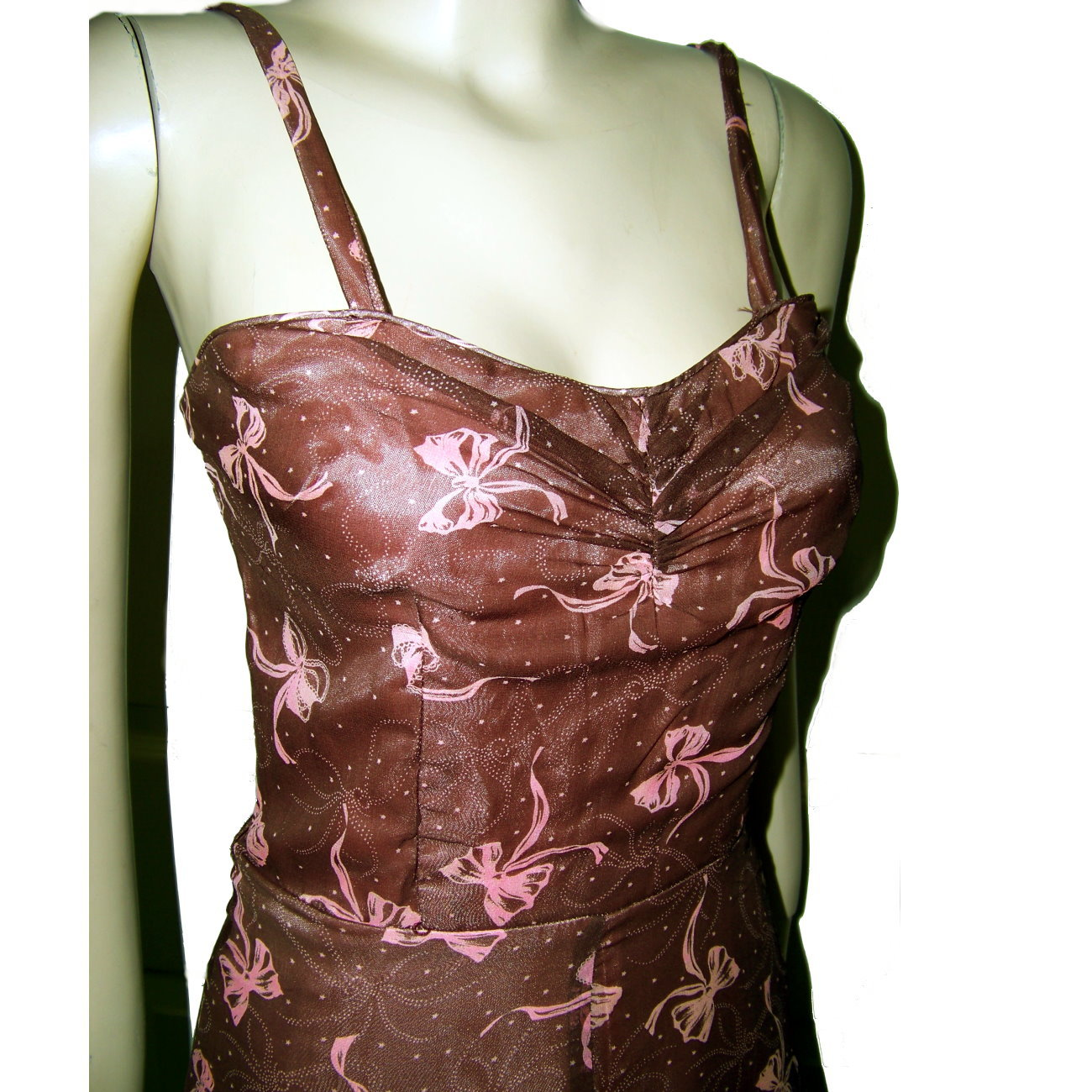 40s retro sundress brown nylon over pink with bows so cute XS