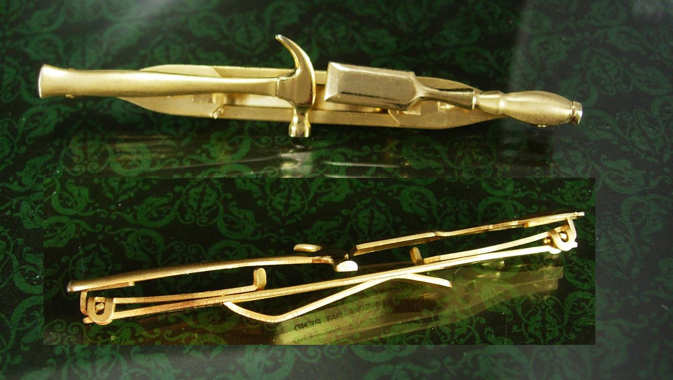 Hammer Tie Clip EXPANDABLE for larger ties Carpenter Gift Chisel Vintage Figural