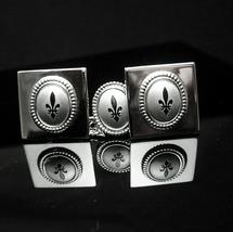 Vintage fleur de lis cufflinks Shields brushed silver shiny Tie tack chrome medi - $125.00