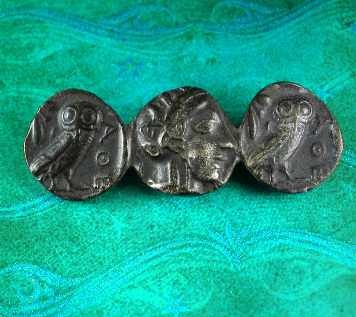 Vintage Love token brooch Greek coin athena Goddess of Wisdom and war Owl grecia